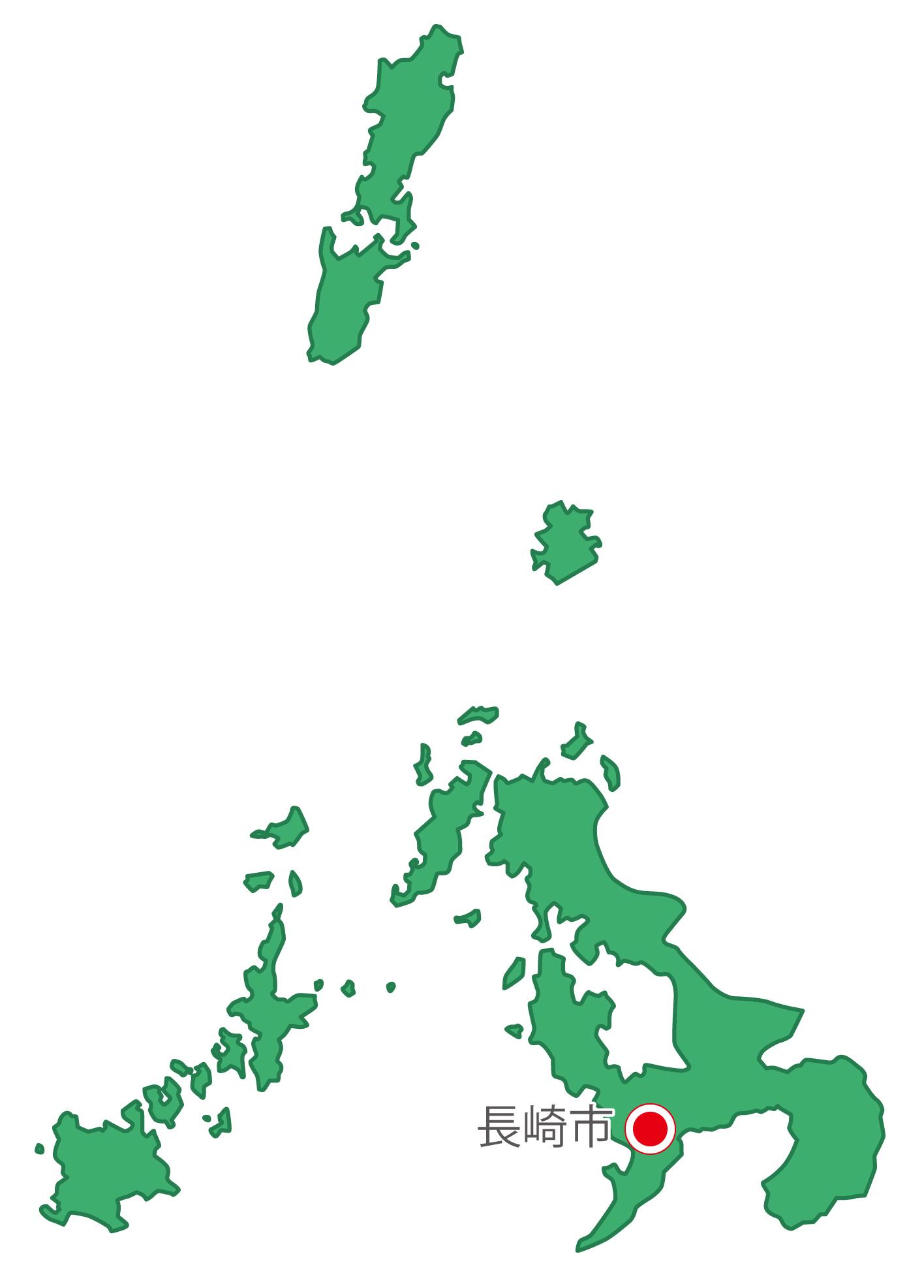 長崎県無料フリーイラスト|日本語・県庁所在地あり(緑)