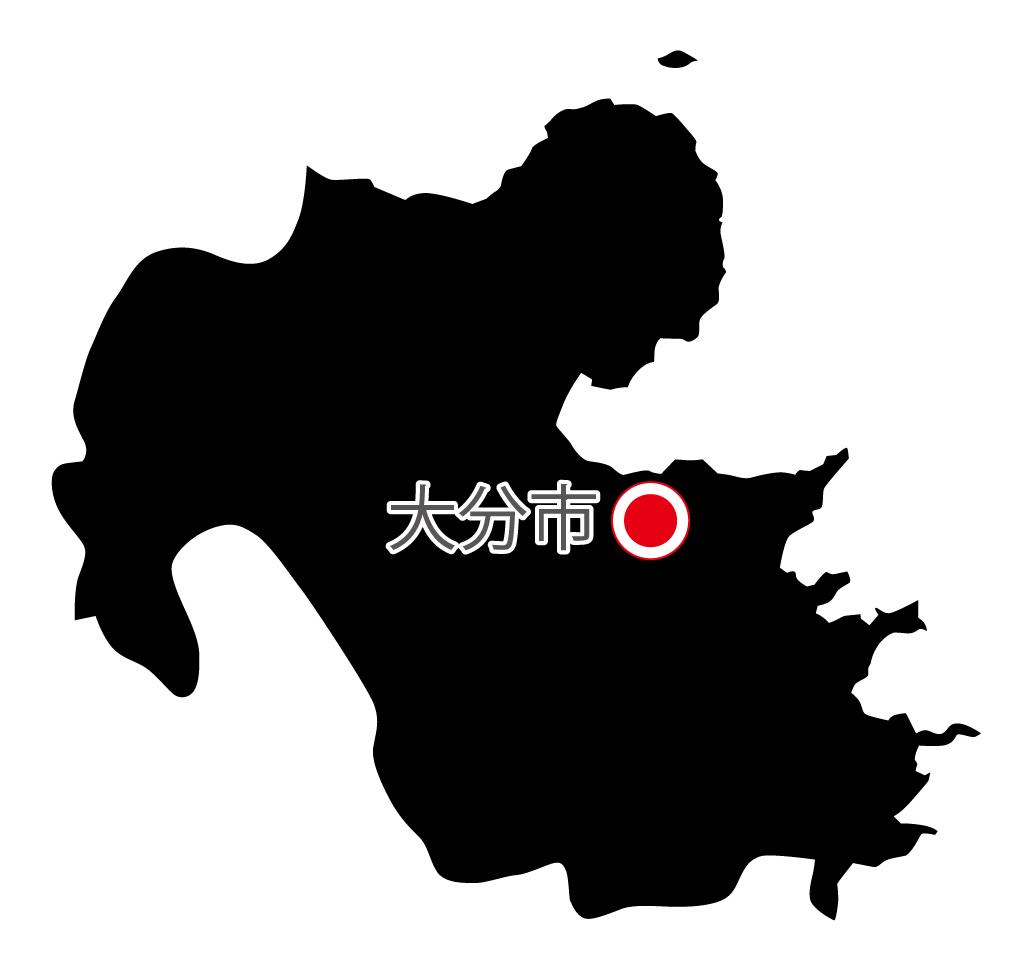 大分県無料フリーイラスト|日本語・県庁所在地あり(黒)