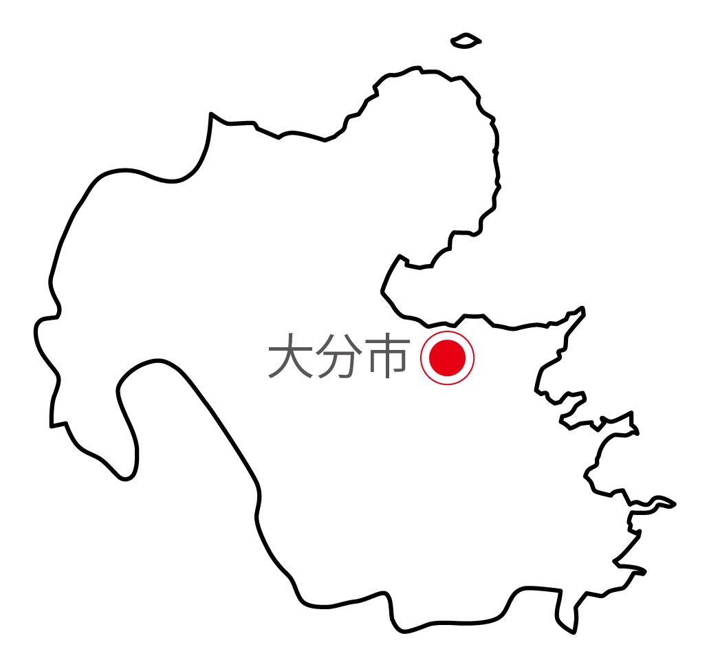 大分県無料フリーイラスト|日本語・県庁所在地あり(白)