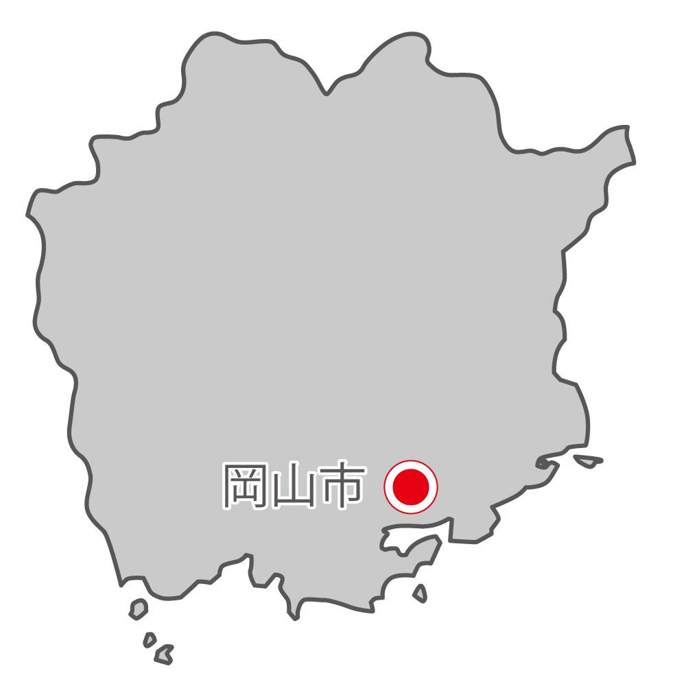 岡山県無料フリーイラスト|日本語・県庁所在地あり(グレー)