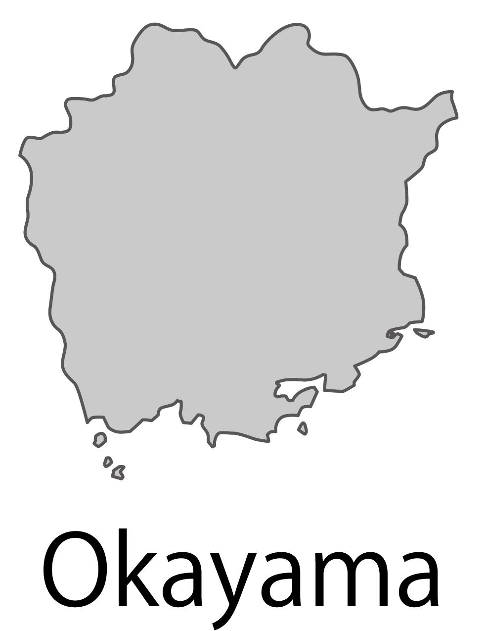 岡山県無料フリーイラスト|英語・都道府県名あり(グレー)