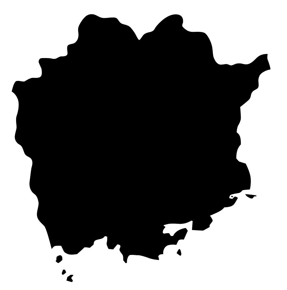 岡山県無料フリーイラスト|文字なし(黒)
