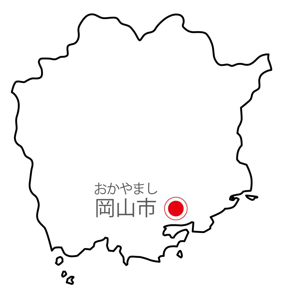 岡山県無料フリーイラスト|日本語・県庁所在地あり・ルビあり(白)