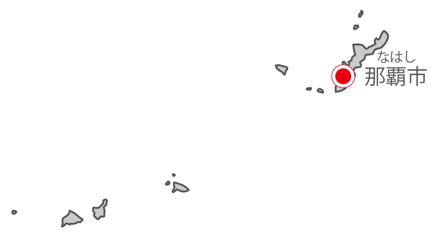 沖縄県無料フリーイラスト|日本語・県庁所在地あり・ルビあり(グレー)