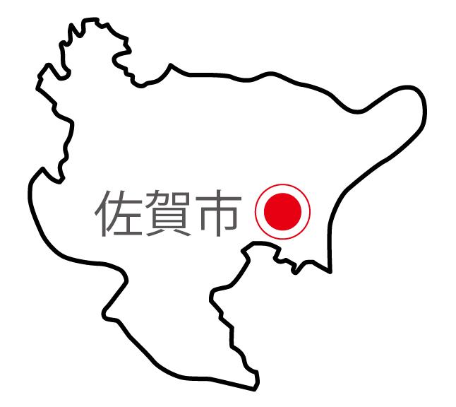 佐賀県無料フリーイラスト|日本語・県庁所在地あり(白)