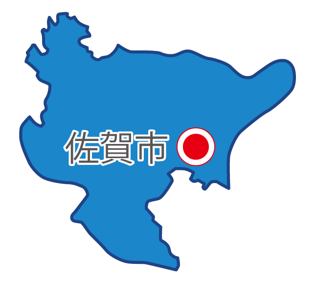 佐賀県無料フリーイラスト|日本語・県庁所在地あり(青)