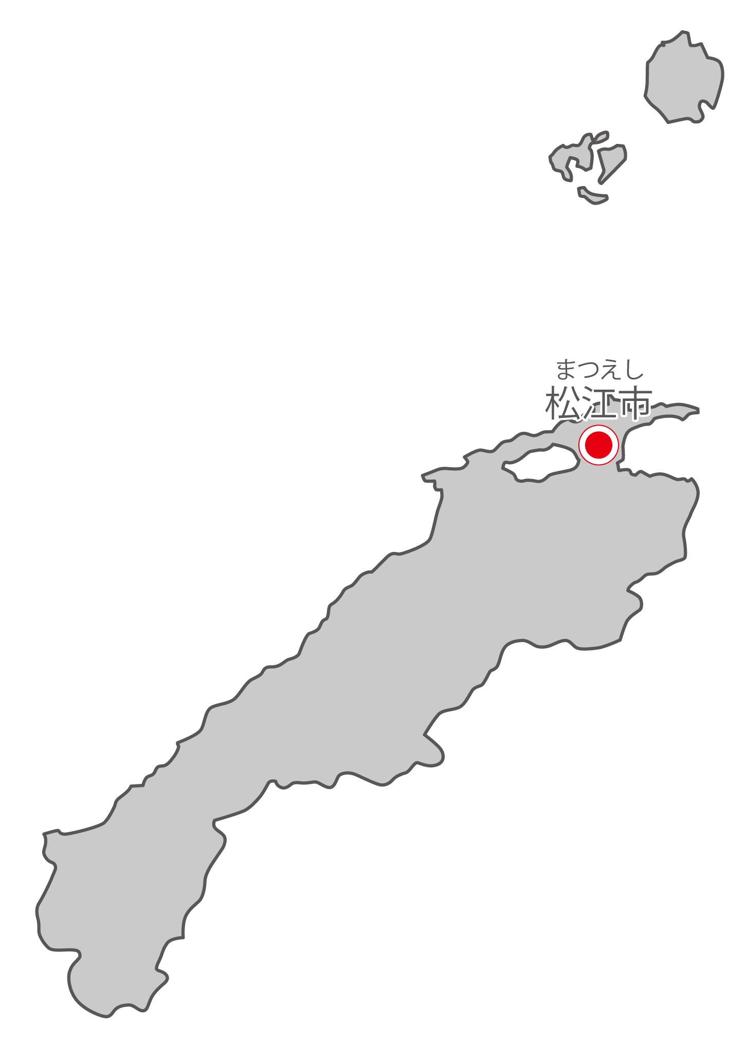 島根県無料フリーイラスト|日本語・県庁所在地あり・ルビあり(グレー)