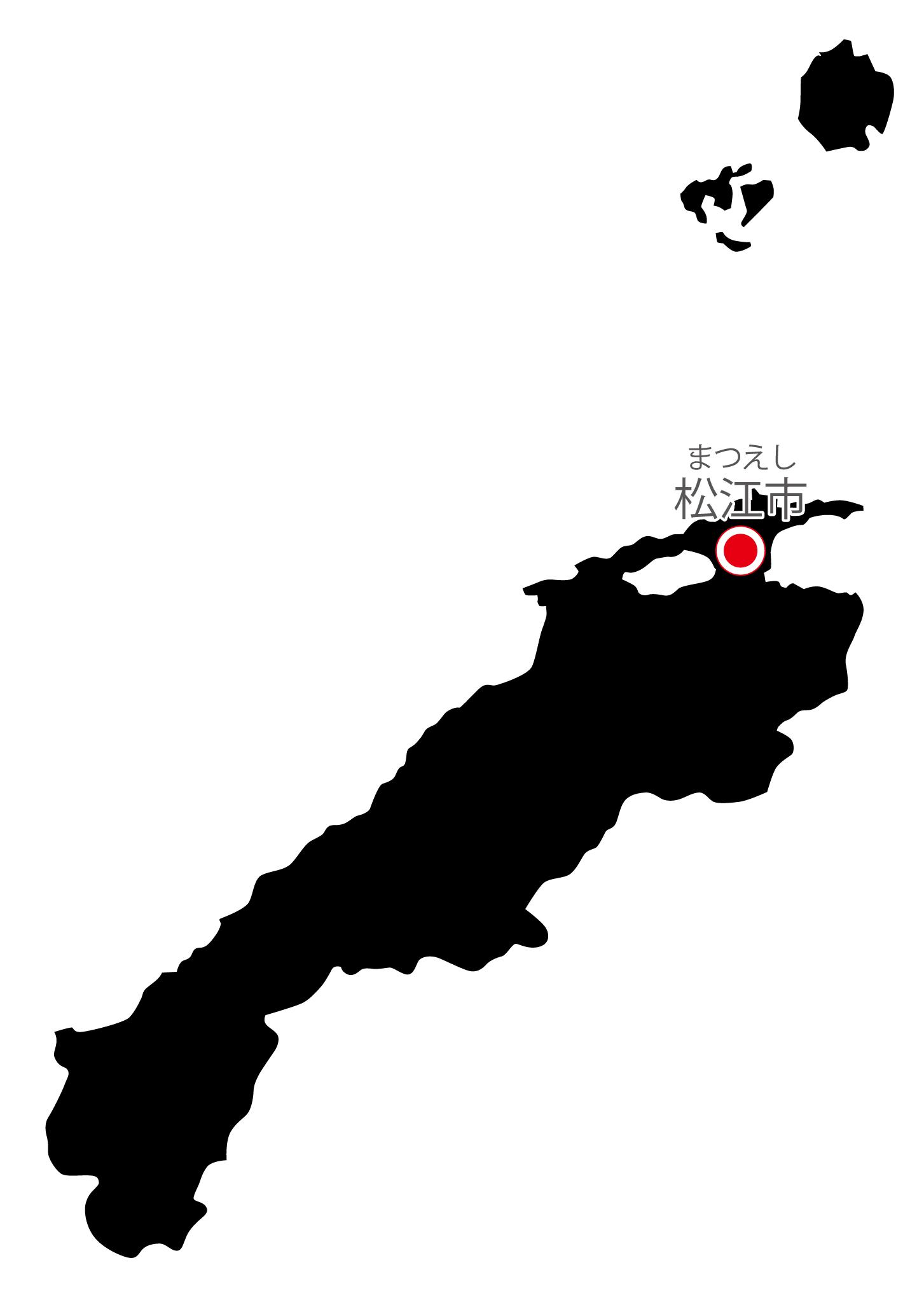 島根県無料フリーイラスト|日本語・県庁所在地あり・ルビあり(黒)