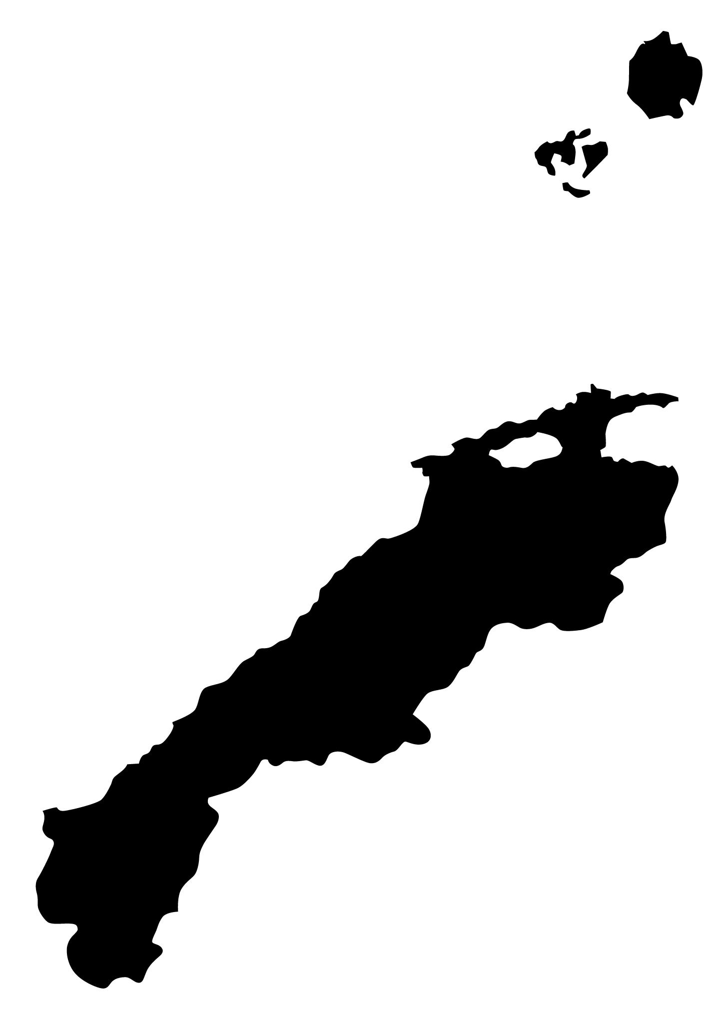 島根県無料フリーイラスト|文字なし(黒)