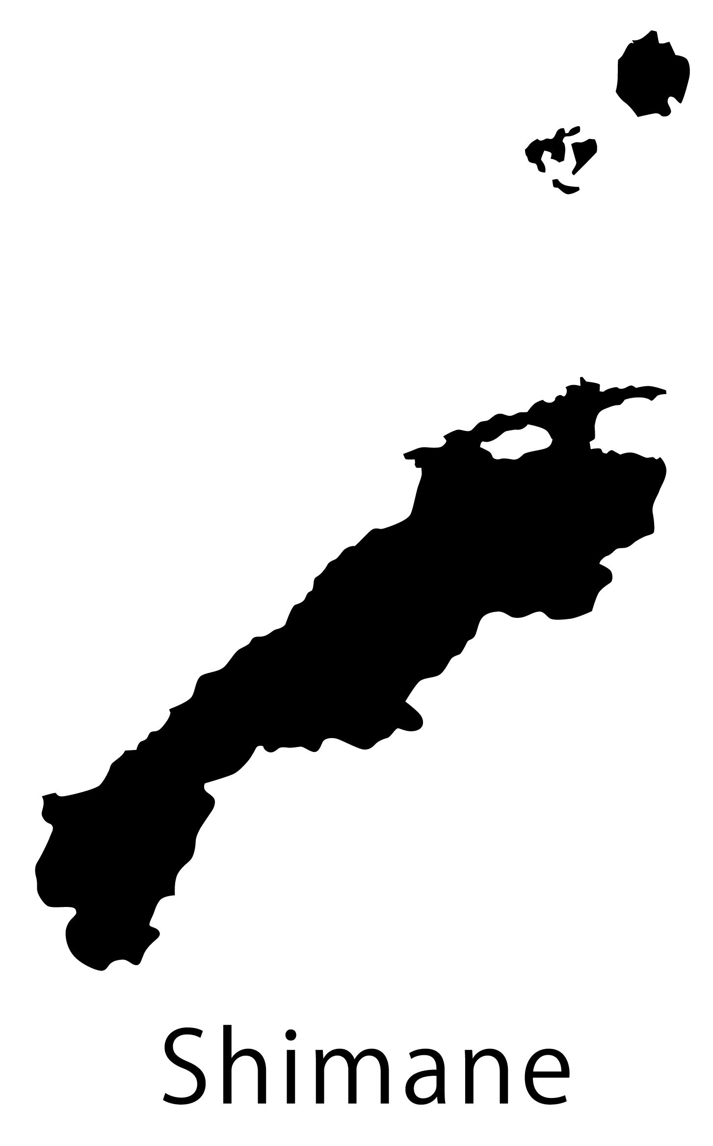 島根県無料フリーイラスト|英語・都道府県名あり(黒)