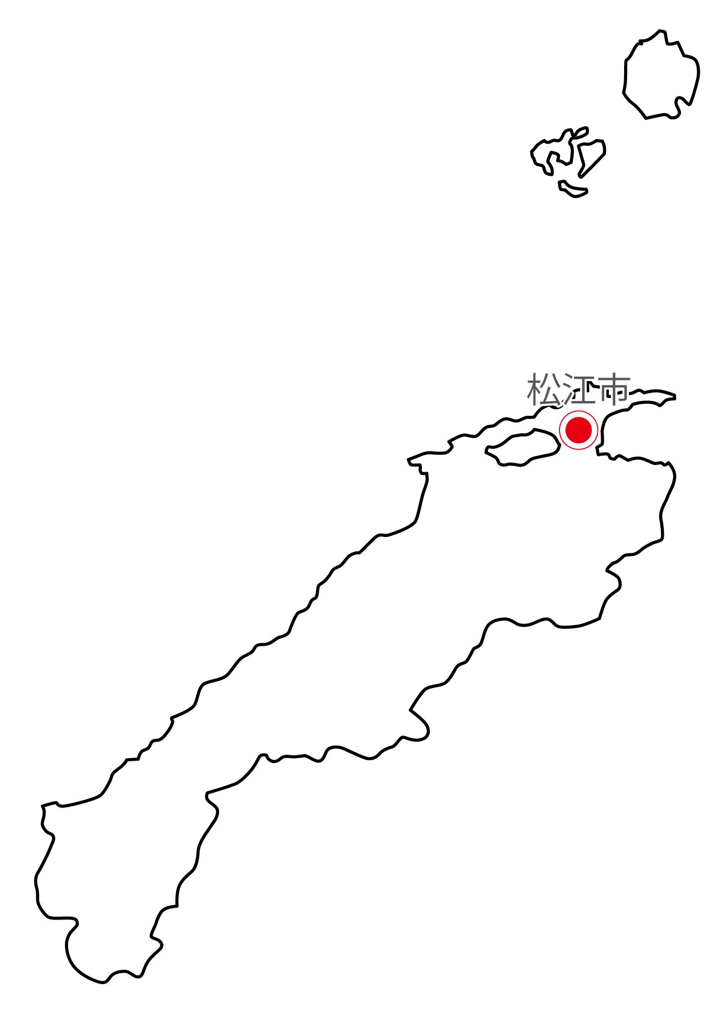 島根県無料フリーイラスト|日本語・県庁所在地あり(白)
