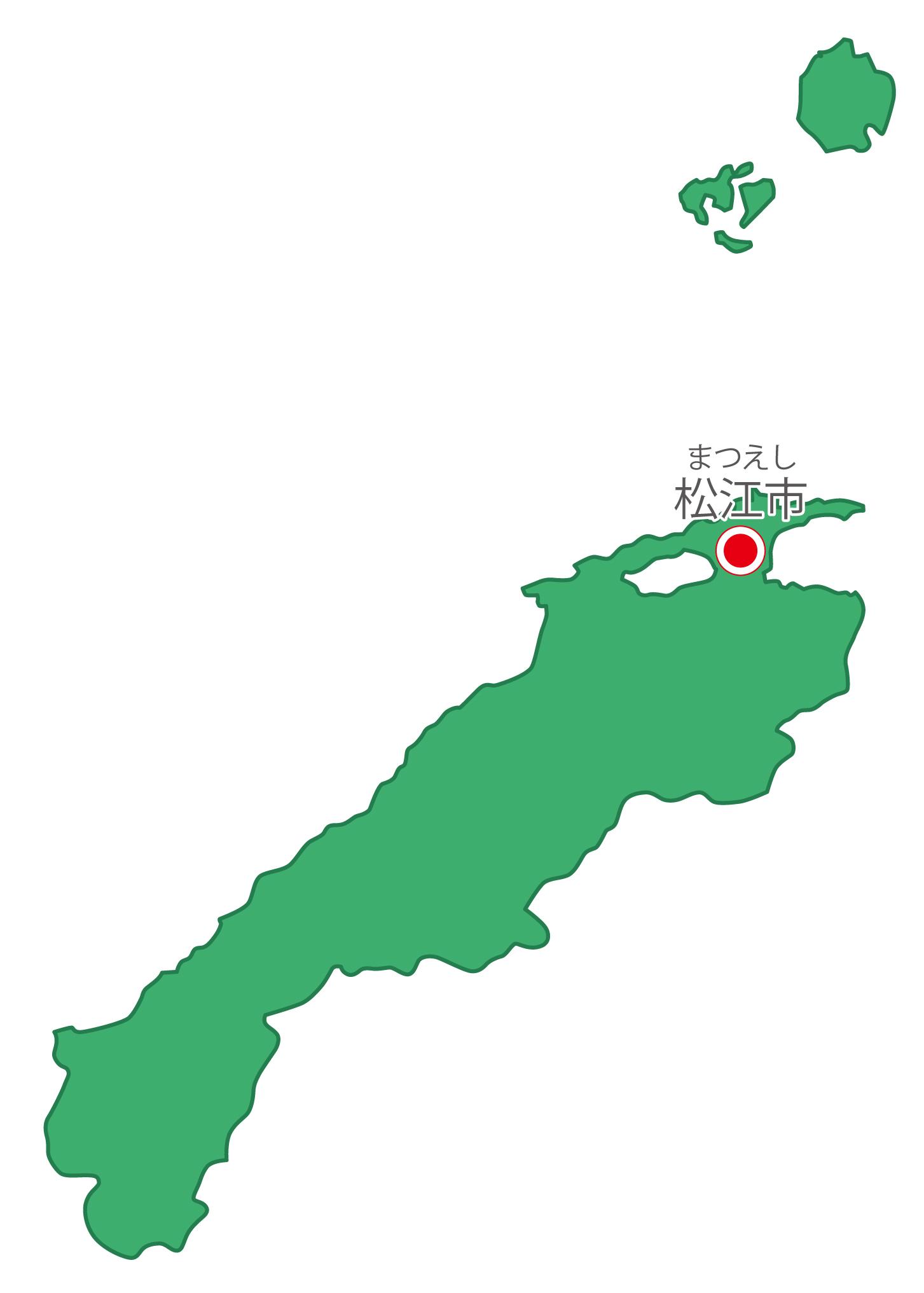 島根県無料フリーイラスト|日本語・県庁所在地あり・ルビあり(緑)