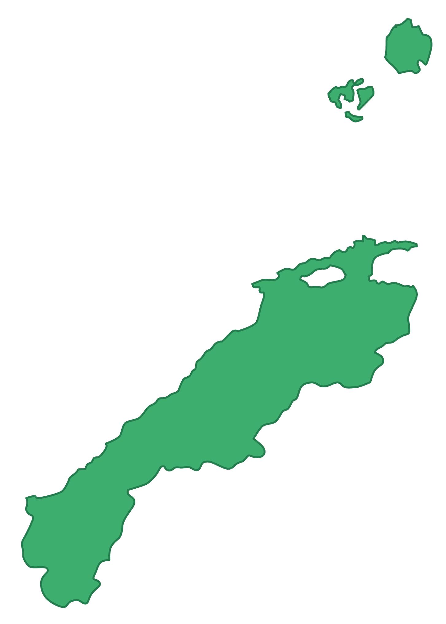 島根県無料フリーイラスト|文字なし(緑)
