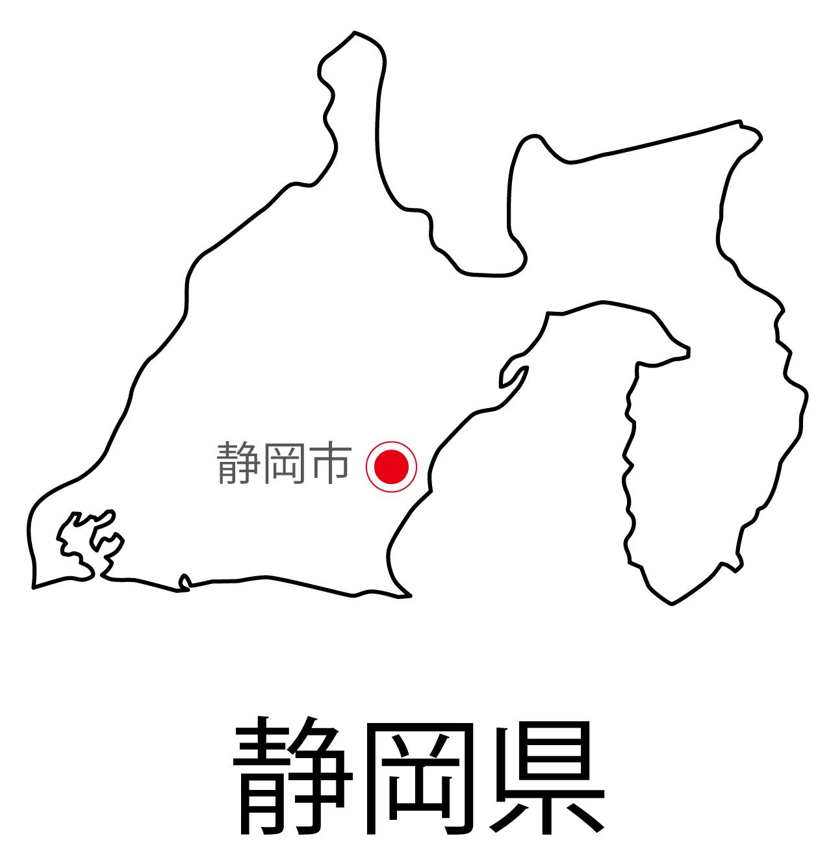 静岡県無料フリーイラスト|日本語・都道府県名あり・県庁所在地あり(白)