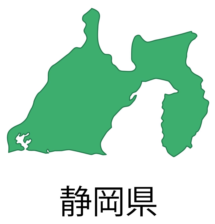 静岡県無料フリーイラスト|日本語・都道府県名あり(緑)