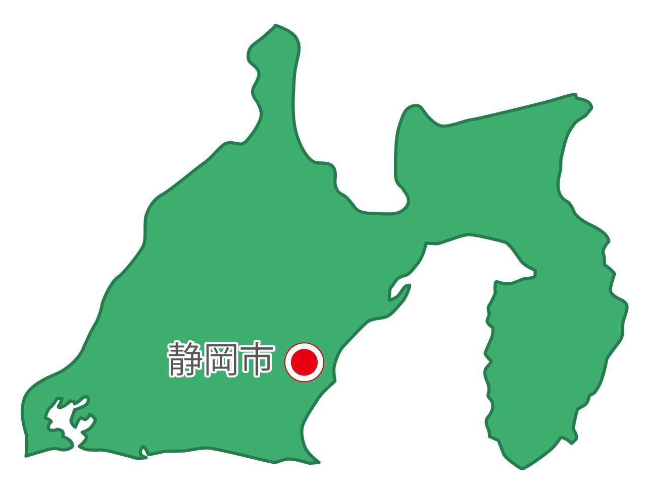 静岡県無料フリーイラスト|日本語・県庁所在地あり(緑)