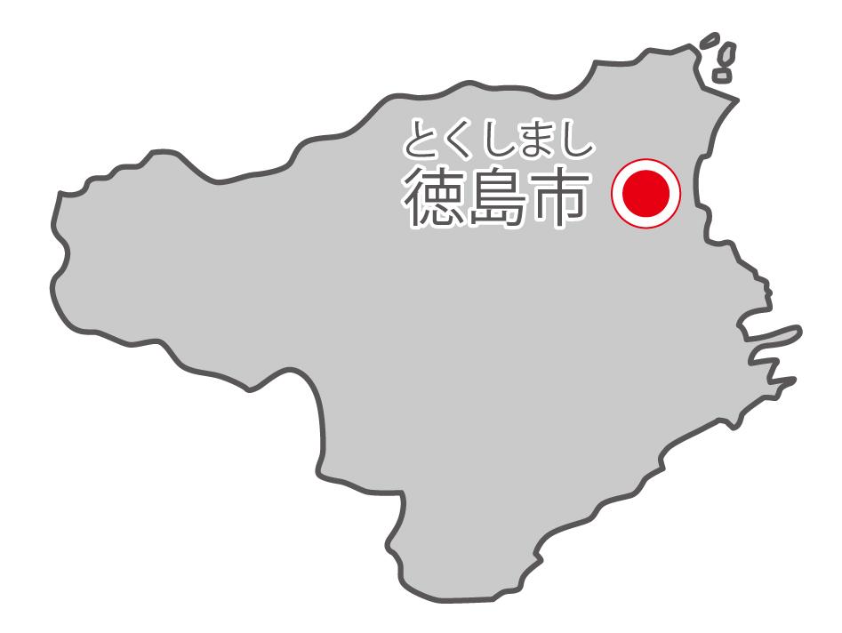 徳島県無料フリーイラスト|日本語・県庁所在地あり・ルビあり(グレー)