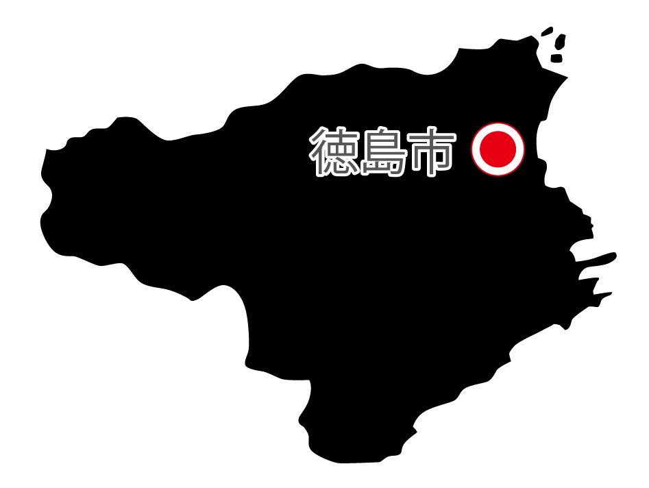 徳島県無料フリーイラスト|日本語・県庁所在地あり(黒)
