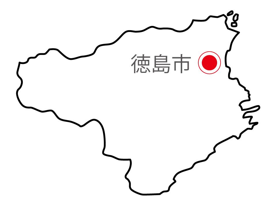 徳島県無料フリーイラスト|日本語・県庁所在地あり(白)