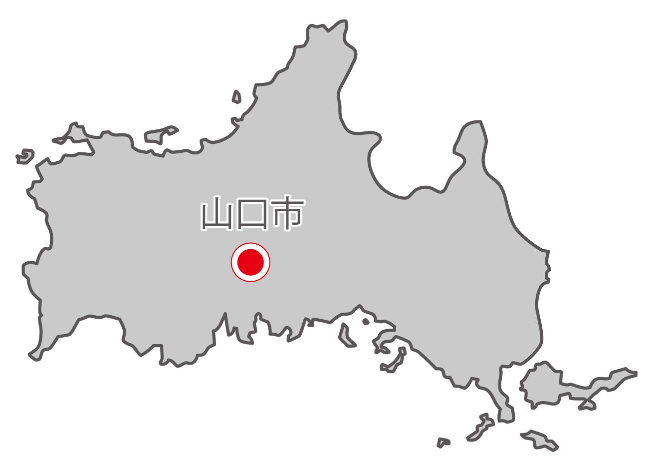 山口県無料フリーイラスト|日本語・県庁所在地あり(グレー)