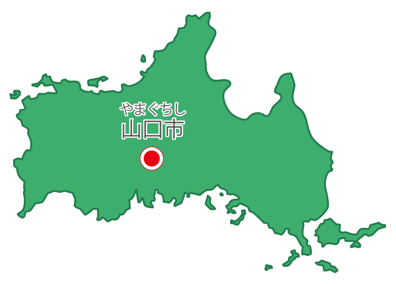 山口県無料フリーイラスト|日本語・県庁所在地あり・ルビあり(緑)