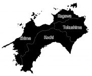 日本地図・四国エリア・都道府県名・英語(黒)