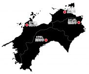 日本地図・四国エリア・県庁所在地あり・ルビあり(黒)