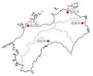 日本地図・四国エリア・県庁所在地あり・ルビあり(白)