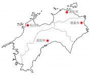 日本地図・四国エリア・県庁所在地あり(白)