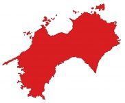 日本地図・四国エリア・文字なし(赤)
