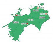 日本地図・四国エリア・都道府県名あり・県庁所在地あり(緑)