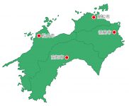 日本地図・四国エリア・県庁所在地あり(緑)