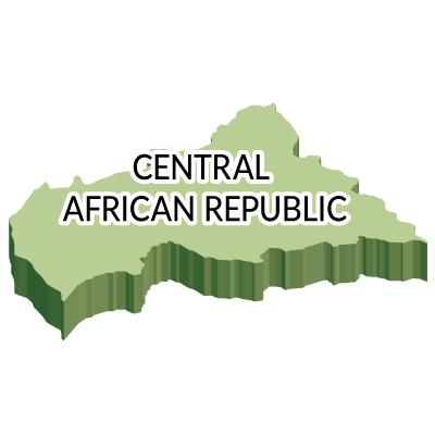 中央アフリカ共和国無料フリーイラスト|英語・立体(緑)