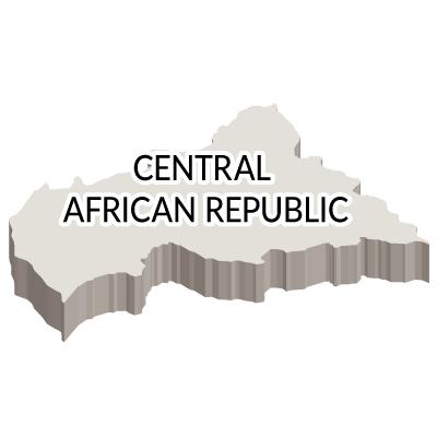 中央アフリカ共和国無料フリーイラスト|英語・立体(白)