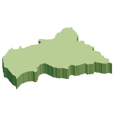 中央アフリカ共和国無料フリーイラスト|無地・立体(緑)