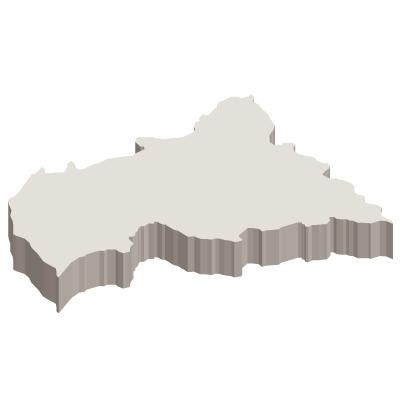中央アフリカ共和国無料フリーイラスト|無地・立体(白)