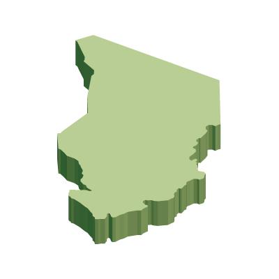 チャド共和国無料フリーイラスト|無地・立体(緑)
