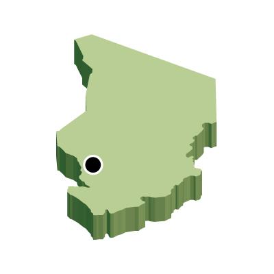チャド共和国無料フリーイラスト|首都・立体(緑)